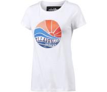 Seventies Printshirt Damen, weiß