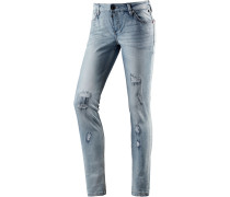 AleenaTZ Skinny Fit Jeans Damen, blau