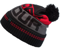 ColdGear Retro Pom Beanie Herren, BLACK / RED / GRAPHITE