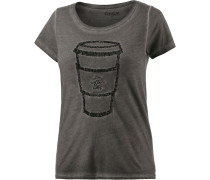 T-Shirt Damen, anthrazit washed