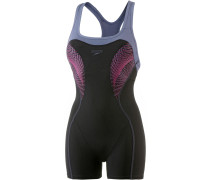 Fit Legsuit Kickback Schwimmanzug Damen, black/vita grey/electric pink