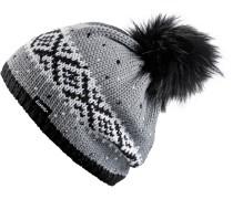 Noma Bommelmütze Damen, grau-schwarz