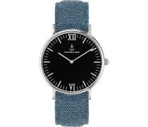 Uhr Campina/Campus Black Silver Blue Canvas CA03B0608D11A
