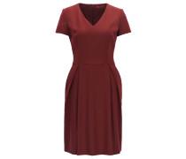 Regular-Fit Kleid aus Stretch-Schurwolle mit V-Ausschnitt