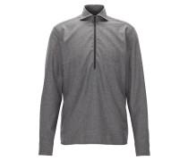 Meliertes Regular-Fit Hemd aus Flanell mit Freizeitkragen und Reißverschluss