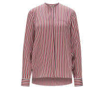 Relaxed-Fit Seidenbluse mit Streifen-Muster