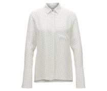 Gepunktete Regular-Fit Bluse aus reiner Seide