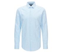 Slim-Fit Hemd aus Baumwoll-Popeline mit unifarbenem Karo-Muster