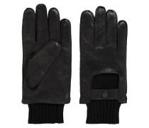 Handschuhe aus Glattleder mit Strickmanschette