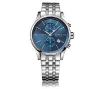 Uhr aus Edelstahl mit drei Zeigern und Gliederarmband