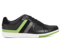 Sneakers aus Leder und Canvas mit Streifen-Dessin
