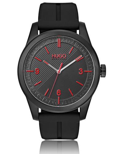 Schwarz beschichtete Uhr