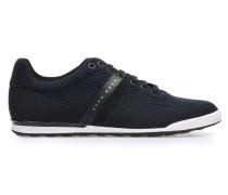 Low Top Sneakers aus Leder und Textil in Strick-Optik