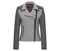 Bikerjacke aus Tweed mit kontrastfarbenen Paspeln