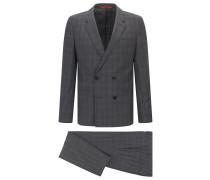 Extra Slim-Fit Anzug aus Mouliné-Schurwolle mit Fensterkaro