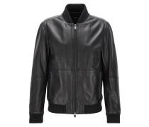 Regular-Fit-Jacke aus weichem Leder
