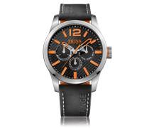 Uhr aus Edelstahl mit Totalisatoren und Armband aus Nubukleder
