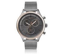 Uhr aus Edelstahl mit Gliederarmband und Leuchtzeigern
