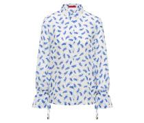 Bedruckte Seiden-Bluse mit gerafften Ärmelbündchen