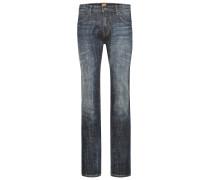 Regular-Fit Jeans aus elastischer Baumwolle mit Vintage Finish