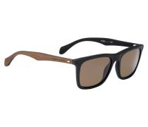 Schwarze Sonnenbrille mit Bügeln aus echtem Holz