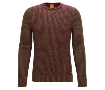 Regular-Fit Pullover aus strukturierter Baumwolle mit Rundhalsausschnitt
