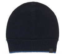 Mütze aus italienischem Baumwoll-Woll-Mix mit kontrastfarbener Einfassung