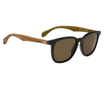 Sonnenbrille mit abgerundeter Vollrandfassung und Holzbügeln