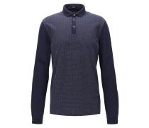 Regular-Fit Longsleeve-Poloshirt aus reiner Baumwolle mit langen Ärmeln und Fensterkaro