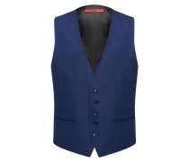 Slim-fit virgin-wool waistcoat with two-tone basket weave