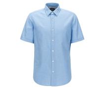 Regular-Fit Kurzarm-Hemd aus Baumwolle und Leinen