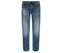 Tapered-Fit Jeans aus Stretch-Denim in Used-Optik