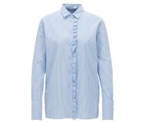 Relaxed-Fit Bluse aus Baumwolle mit Rüschen-Besatz