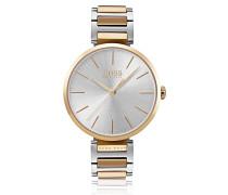 Uhr aus Edelstahl mit Gliederarmband und goldfarbenen Akzenten