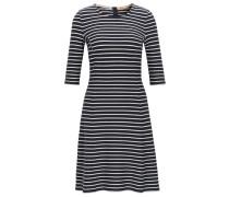 Gestreiftes Slim-Fit Kleid in A-Linie aus Baumwoll-Jersey