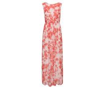 Maxi-Kleid mit Blüten-Muster aus Material-Mix