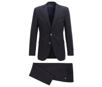 Slim-fit suit in satin-finish stretch cotton