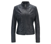 Lightweight slim-fit leather jacket with contrast lining