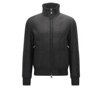 Regular-Fit Lederjacke mit elastischen Details