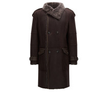 Zweireihiger Slim-Fit Mantel aus Lammfell