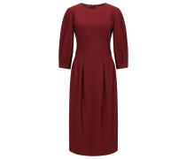 Regular-Fit Kleid aus elastischem Material-Mix mit Rundhalsausschnitt