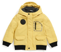 Kids Regular-Fit Parka aus Material-Mix mit Kapuze