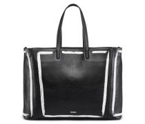 Print-detail shopper bag in semi-aniline leather