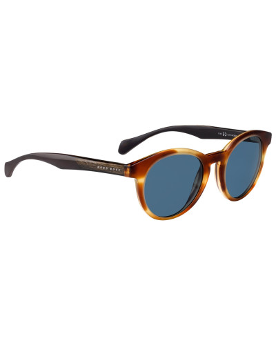 Runde Sonnenbrille aus Acetat mit Holzeinsatz
