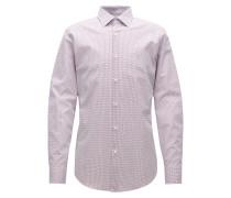 Zweifarbiges Slim-Fit-Hemd aus Baumwoll-Popeline