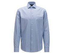 Kariertes Regular-Fit Hemd aus Baumwolle in Strick-Optik