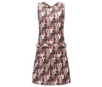 Gerade geschnittenes Kleid aus einem Baumwoll-Mix mit Rüschen