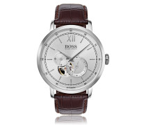 Uhr aus Edelstahl mit sichtbarem Uhrwerk und Lederarmband