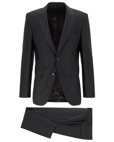 Gestreifter Slim-Fit Anzug aus nachverfolgbarer Merinowolle