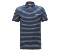 Regular-Fit Poloshirt aus meliertem Baumwoll-Jersey